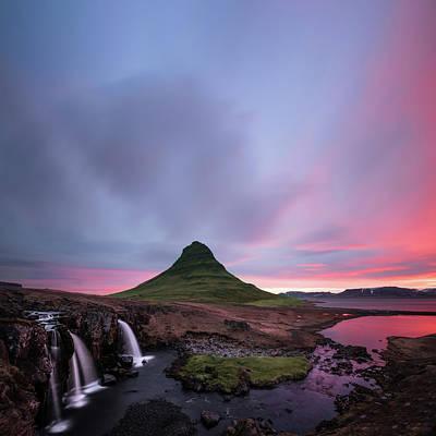Kirkjufellsfoss Waterfalls Iceland Square Version Print by Larry Marshall