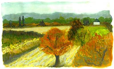 Gouache Painting - Kisber Hungary In October by Cameron Hampton PSA
