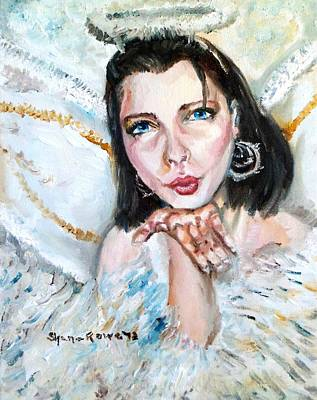 Gold Earrings Painting - Kiss Of An Angel by Shana Rowe Jackson