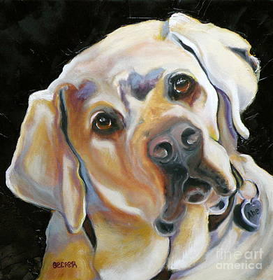 Oil Drawing - Kissably Close Lab by Susan A Becker