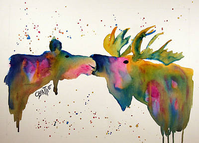 Kissing Moose Original by Connie Beattie