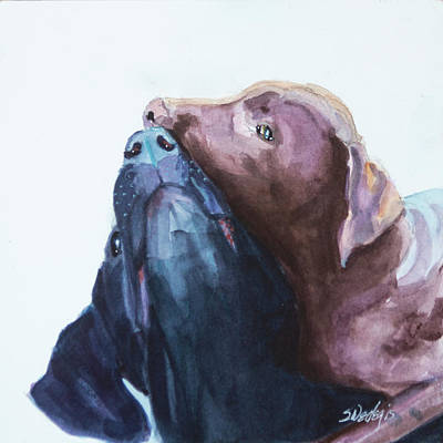 Chocolate Labrador Retriever Painting - Kiss,nip by Sheila Wedegis
