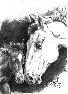Llmartin Drawing - Kissy And Stomper by Linda L Martin