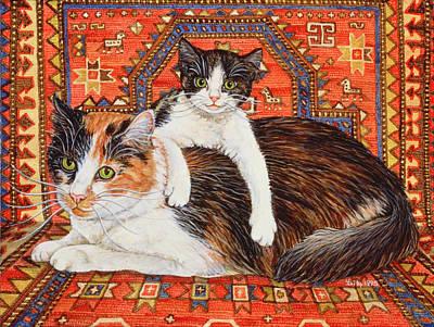 Persian Carpet Painting - Kit Cat Carpet by Ditz