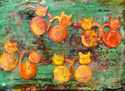 Encaustic Painting - Kit Cat by Leslie Dobbins
