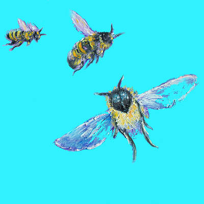 Bees Painting - Kitchen Art - Honey Bees by Jan Matson