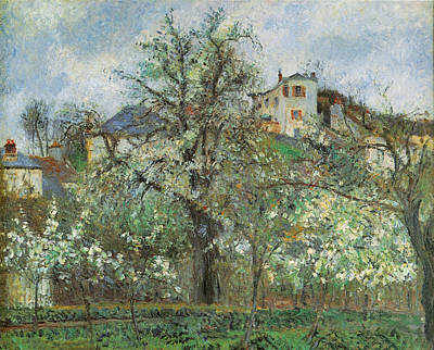 Kitchen Garden And Flowering Trees Print by Camille Pissarr