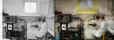 Steampunk Photograph - Kitchen - How I Bake Bread 1923 - Side By Side by Mike Savad