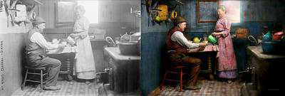 Kitchen - Morning Coffee 1915 - Side By Side Print by Mike Savad