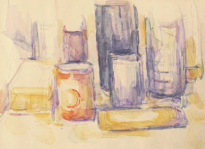 Paul Drawing - Kitchen Table  Pots And Bottles by Paul Cezanne