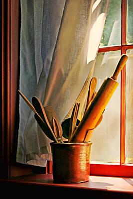Crock Photograph - Kitchen Utensils - Window by Nikolyn McDonald