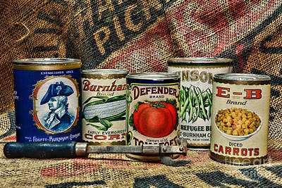 Kitchen - Vintage Food Cans Print by Paul Ward