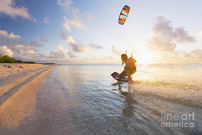 Kiteboarding In Tropical Lagoon Print by MakenaStockMedia