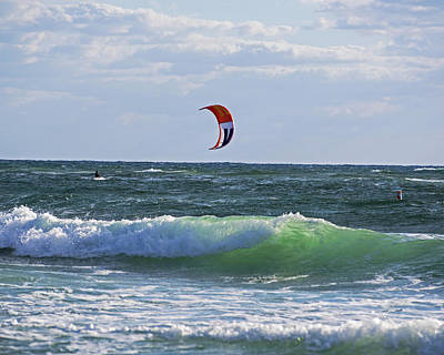 Kiteboards On Pompano Beach Florida Print by Toby McGuire