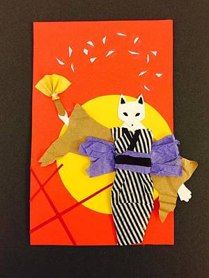 Handcrafted Mixed Media - Kitsune Maiden by  AmaSepia Gittens-Jones' Fox And Fantasy Designs