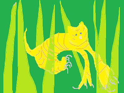 Abstract Digital Drawing - Kitten In The Grass by Anita Dale Livaditis