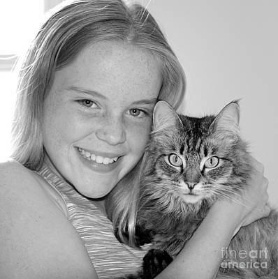 Black_white Photograph - Kitten Love by Cathy Fitzgerald