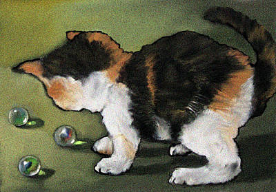 Mixed Media - Kitten Playing With Marbles by Joyce Geleynse
