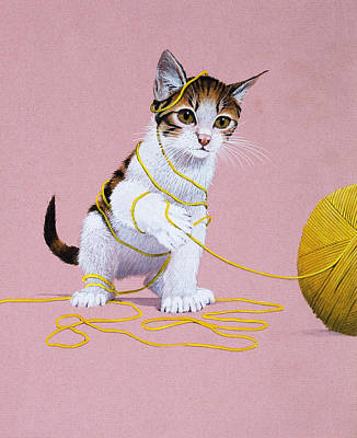 Baby Wool Painting - Kitten With Ball Of Wool by English School