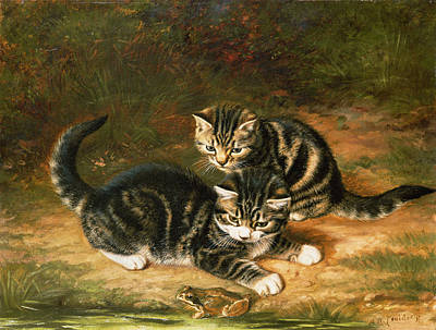 Toad Painting - Kittens   by Horatio Henry Couldery
