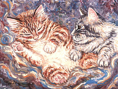 Kittens Painting - Kittens Sleeping by Linda Mears