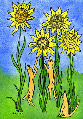 Kitties Climbing Flowers Print by Norma Appleton