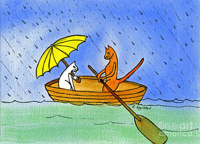 Kitties In A Boat Print by Norma Appleton
