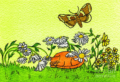 Kitty In The Garden Print by Norma Appleton