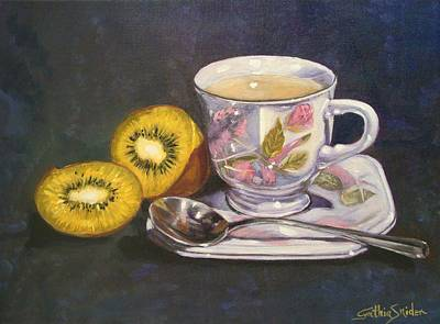 Kiwi And Tea Original by Cynthia Snider