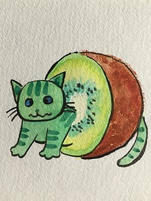 Kiwi Drawing - Kiwi Cat by Jun Xing
