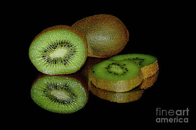 Kiwi Fruit Reflecting On Black By Kaye Menner Print by Kaye Menner