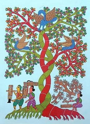 Gond Art Painting - Kk 10 by Kamli Kushram