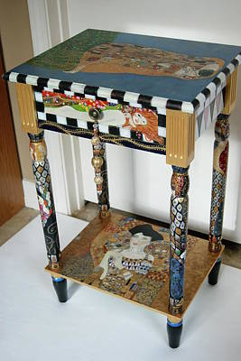 Adele Mixed Media - Klimt Accent Table Repro's In Miniature by Pamela Fox
