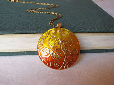 Hand Painted Pendant Jewelry - Klimt Tree Of Life Pendant Mother Of Pearl Painted By Hand by Evelina Pastilati