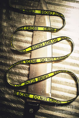 Knife With Crime Scene Ribbon On Metal Surface Print by Jorgo Photography - Wall Art Gallery