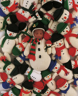 Merry Christmas Photograph - Knitted Snowman by Anne Geddes