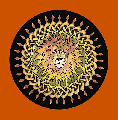 Mandala Painting - Knotted Lion by Lorraine Kelly