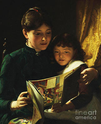 Bookworm Painting - Knowledge Is Power by Seymour Joseph Guy
