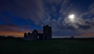 Knowlton Church By The Moonlight Print by Giovanni Giuliano
