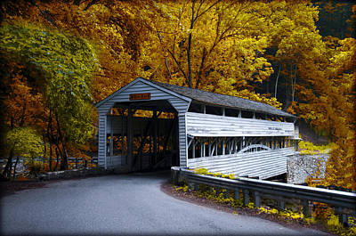 Knox Covered Bridge At Valley Forge In Autumn Print by Bill Cannon