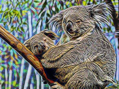 Koala Mixed Media - Koala Bear Mom And Child by Marvin Blaine