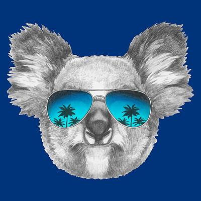 Koala Drawing - Koala With Mirror Sunglasses by Marco Sousa