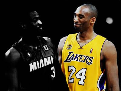 Magic Johnson Mixed Media - Kobe Bryant And Dwyane Wade 2 by Brian Reaves