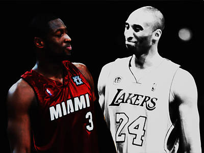 Magic Johnson Mixed Media - Two Masters Of The Game Kobe Bryant And Dwyane Wade by Brian Reaves