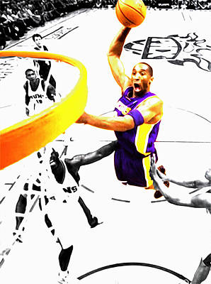Magic Johnson Mixed Media - Kobe Bryant Flight Mode by Brian Reaves