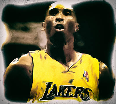 Magic Johnson Painting - Kobe Bryant Focus by Brian Reaves