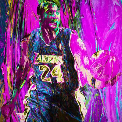 Kobe Bryant La Lakers Digital Painting 3 Print by David Haskett