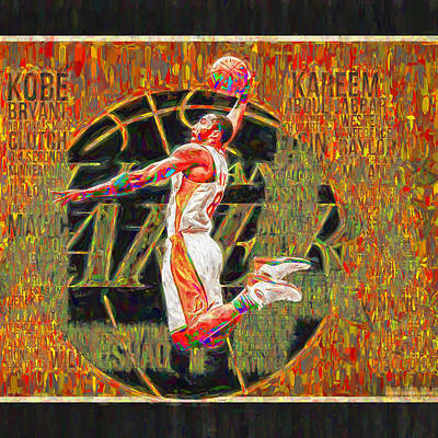 Kobe Bryant La Lakers Digital Painting 4 Print by David Haskett