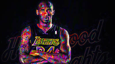 Kobe Bryant Los Angeles Lakers Digital Painting 2 Print by David Haskett