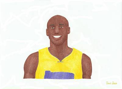 La Lakers Drawing - Kobe Bryant by Toni Jaso
